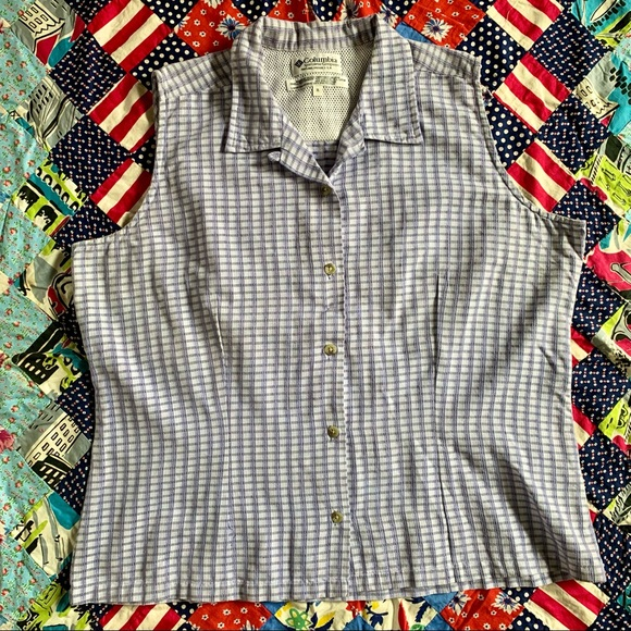 Vintage Columbia Checkered Cotton Blend Top